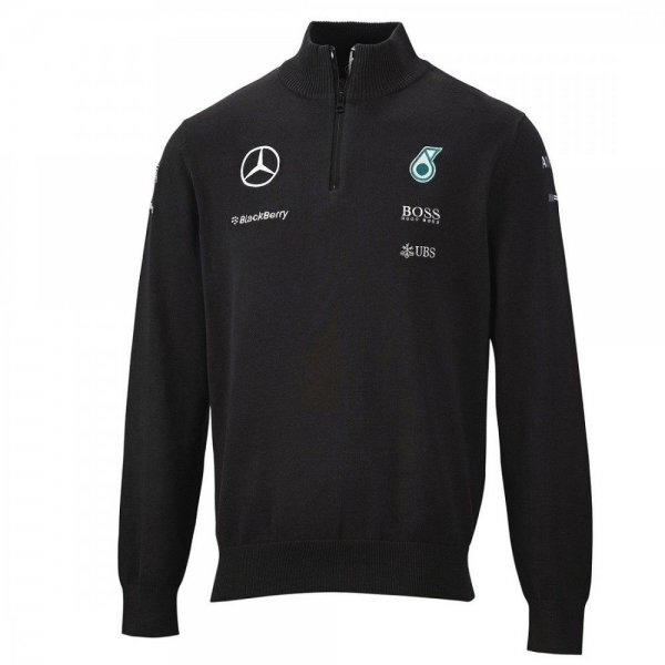 mercedes amg f1 team strickpullover mit 1 2 rei verschluss. Black Bedroom Furniture Sets. Home Design Ideas