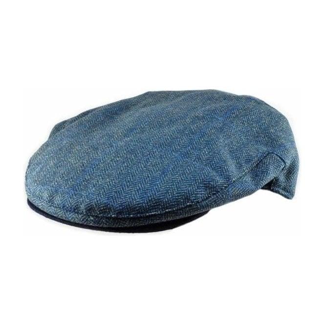 Christys' Hats Brighton Driver Cap Teviot Blue Herringbone