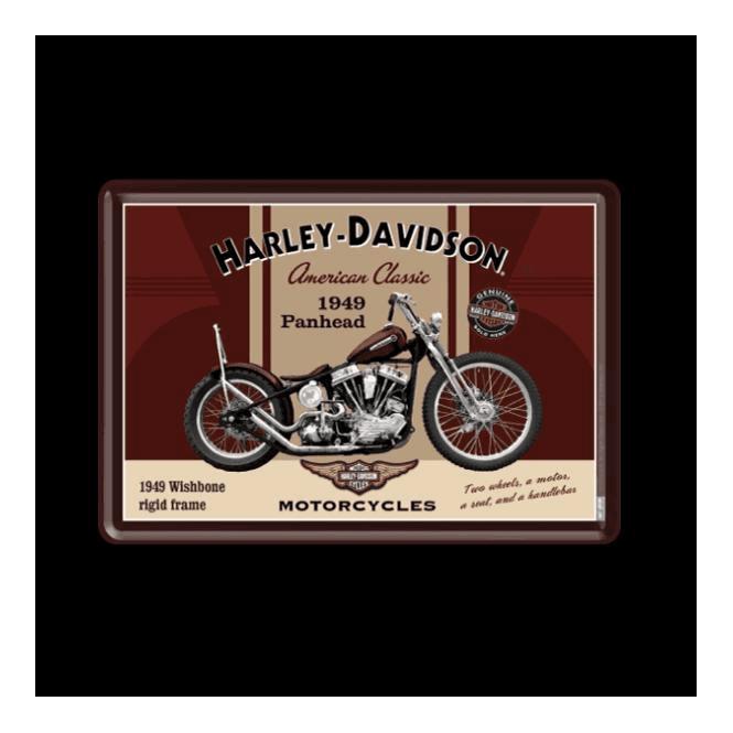 Nostalgic Art Metal Postcard Harley Davidson Biker Babe Pin-Up 10 x 14 cm